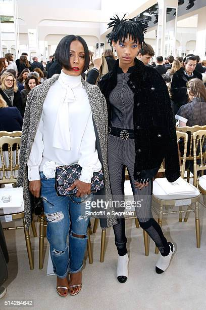 Actress Jada Pinkett Smith and her daughter Singer Willow Smith attends the Chanel show as part of the Paris Fashion Week Womenswear Fall/Winter...