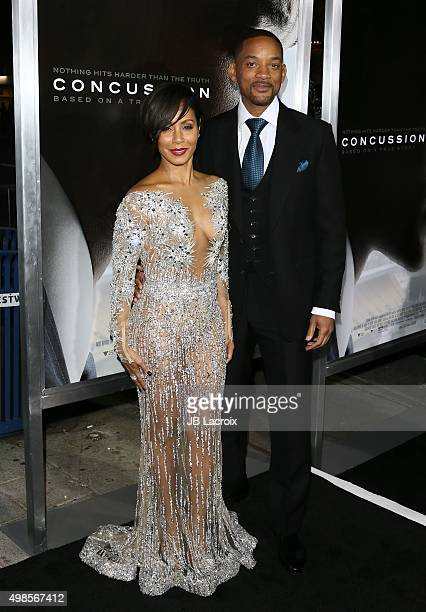 Actress Jada Pinkett Smith and Will Smith attend the screening of Columbia Pictures' 'Concussion' on November 23 2015 in Westwood California
