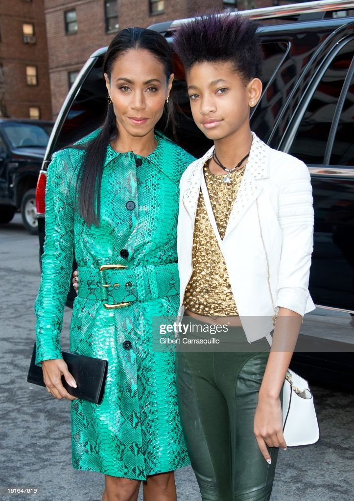Actress <a gi-track='captionPersonalityLinkClicked' href=/galleries/search?phrase=Jada+Pinkett+Smith&family=editorial&specificpeople=201837 ng-click='$event.stopPropagation()'>Jada Pinkett Smith</a> and <a gi-track='captionPersonalityLinkClicked' href=/galleries/search?phrase=Willow+Smith&family=editorial&specificpeople=869488 ng-click='$event.stopPropagation()'>Willow Smith</a> attends Fall 2013 Mercedes-Benz Fashion Show at The Theater at Lincoln Center on February 13, 2013 in New York City.
