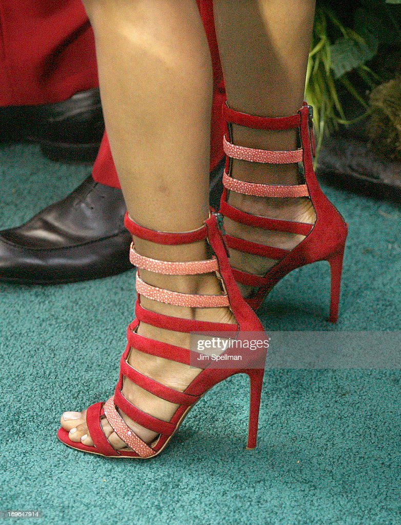 Actress Jada Pinkett Smith (shoe detail) attends the 'After Earth' premiere at the Ziegfeld Theater on May 29, 2013 in New York City.