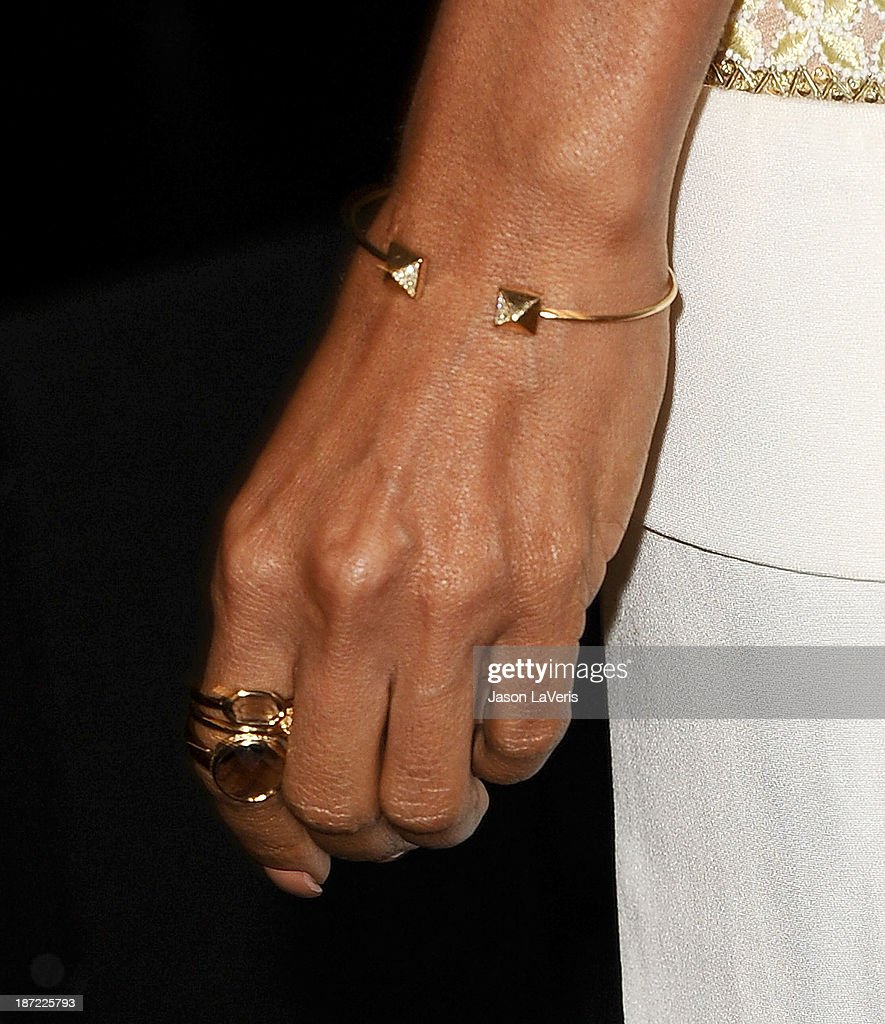 Actress Jada Pinkett Smith (jewelry detail) attends the 'Make Equality Reality' event at Montage Beverly Hills on November 4, 2013 in Beverly Hills, California.