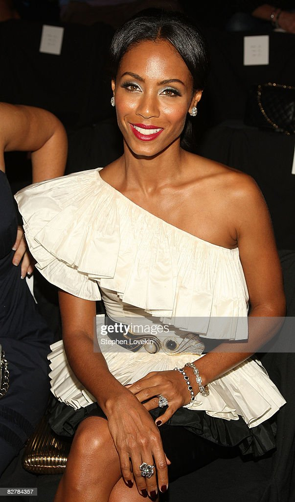 Actress Jada Pinkett Smith attends the Zac Posen Spring 2009 fashion show during Mercedes-Benz Fashion Week at The Tent, Bryant Park on September 11, 2008 in New York City.