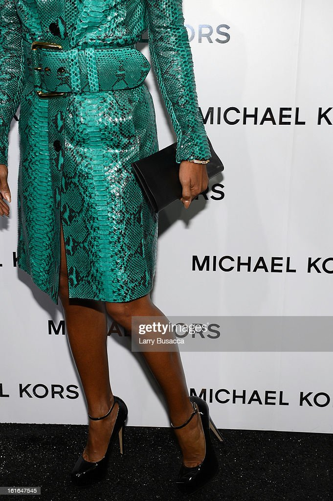 Actress Jada Pinkett Smith (fashion detail) backstage at the Michael Kors Fall 2013 fashion show during Mercedes-Benz Fashion Week at The Theatre at Lincoln Center on February 13, 2013 in New York City.