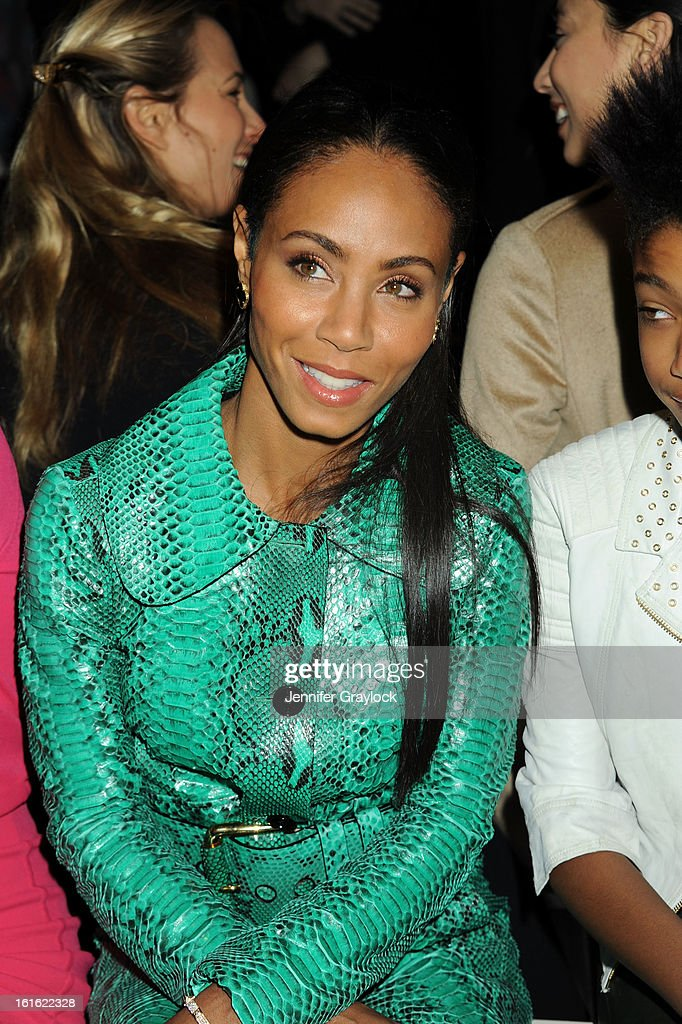 Actress <a gi-track='captionPersonalityLinkClicked' href=/galleries/search?phrase=Jada+Pinkett+Smith&family=editorial&specificpeople=201837 ng-click='$event.stopPropagation()'>Jada Pinkett Smith</a> front row during the Michael Kors Fall 2013 Mercedes-Benz Fashion Show at The Theater at Lincoln Center on February 13, 2013 in New York City.