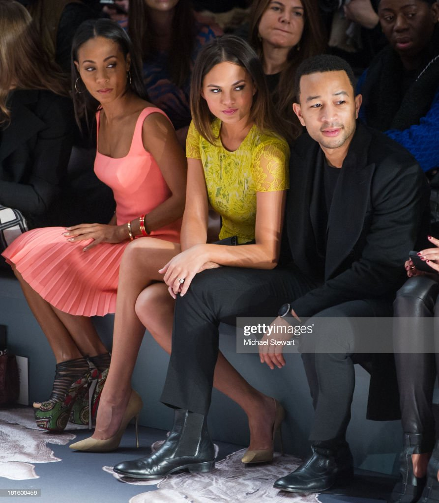 Actress Jada Pinkett Smith, model Chrissy Teigen and musician John Legend attend Vera Wang during fall 2013 Mercedes-Benz Fashion Week at The Stage at Lincoln Center on February 12, 2013 in New York City.