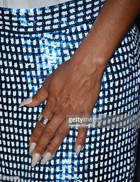 Actress Jada Pinkett Smith ring and manicure detail arrives at Fox's 'Gotham' finale screening event at the Landmark Theatre on April 28 2015 in Los...