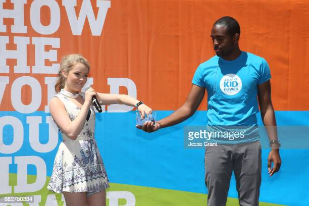 Actress Jade Pettyjohn and Emcee Albert Lawrence onstage at UNICEF Kid Power Los Angeles event at Microsoft Square on May 13 2017 in Los Angeles...