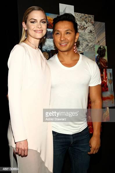 Actress Jaime King and designer Prabal Gurung poses backstage at Prabal Gurung Spring 2016 during New York Fashion Week The Shows at The Arc Skylight...