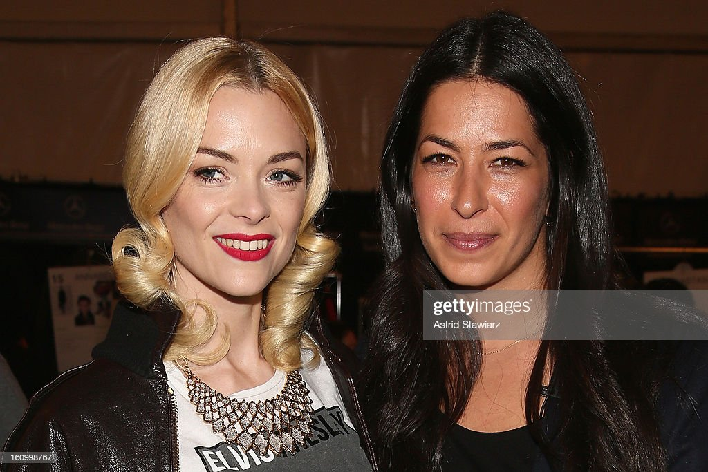 Actress <a gi-track='captionPersonalityLinkClicked' href=/galleries/search?phrase=Jaime+King+-+Actress&family=editorial&specificpeople=206809 ng-click='$event.stopPropagation()'>Jaime King</a> and designer Rebecca Minkoff pose backstage at the TRESemme At Rebecca Minkoff Fall 2013 fashion show during Mercedes-Benz Fashion Week at The Theatre at Lincoln Center on February 8, 2013 in New York City.