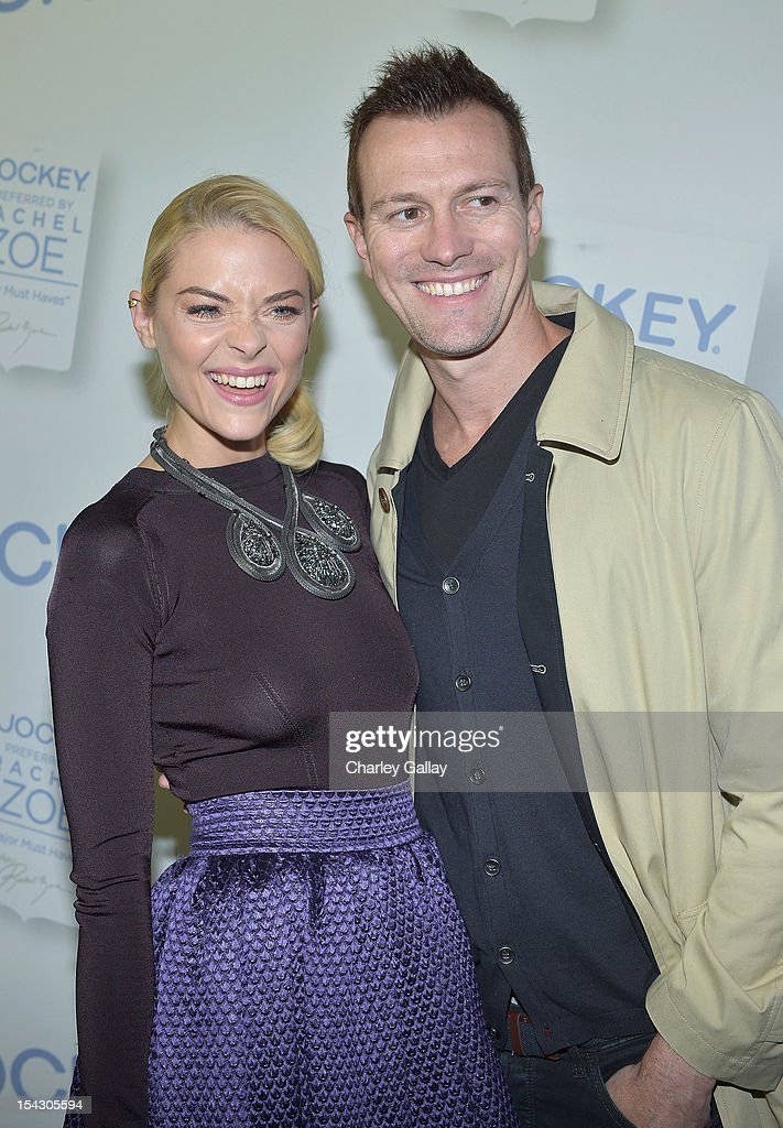 Actress <a gi-track='captionPersonalityLinkClicked' href=/galleries/search?phrase=Jaime+King+-+Actress&family=editorial&specificpeople=206809 ng-click='$event.stopPropagation()'>Jaime King</a> (L) and director Kyle Newman celebrate the launch of Rachel ZoeÕs ÒMajor Must HavesÓ from Jockey at Sunset Tower on October 17, 2012 in West Hollywood, California.