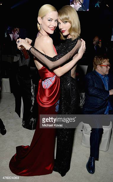 Actress Jaime King and recording artist Taylor Swift attend the 22nd Annual Elton John AIDS Foundation Academy Awards Viewing Party at The City of...