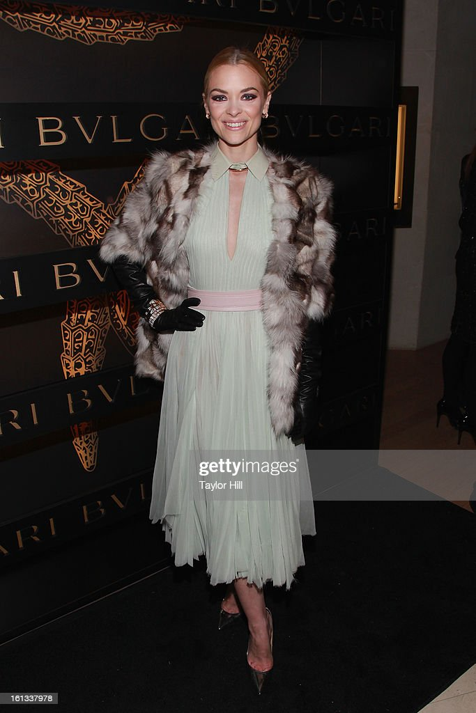 Actress <a gi-track='captionPersonalityLinkClicked' href=/galleries/search?phrase=Jaime+King+-+Actress&family=editorial&specificpeople=206809 ng-click='$event.stopPropagation()'>Jaime King</a> attends Bulgari Celebrates Icons Of Style: The Serpenti during Fall 2013 Fashion Week at Bulgari Fifth Avenue on February 9, 2013 in New York City.