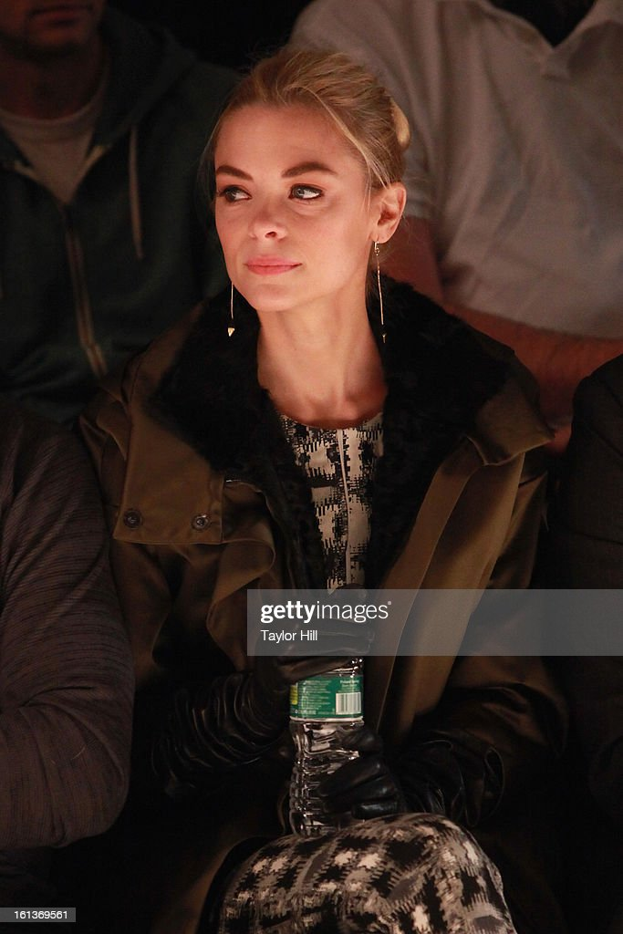Actress <a gi-track='captionPersonalityLinkClicked' href=/galleries/search?phrase=Jaime+King+-+Attrice&family=editorial&specificpeople=206809 ng-click='$event.stopPropagation()'>Jaime King</a> attends the Lela Rose Fall 2013 Mercedes-Benz Fashion Show at The Studio at Lincoln Center on February 10, 2013 in New York City.