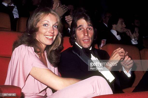 Actress Jaime Lyn Bauer and Actor Henry Winkler attend the 'Family Plot' Los Angeles Premiere on March 21 1976 in Los Angeles California