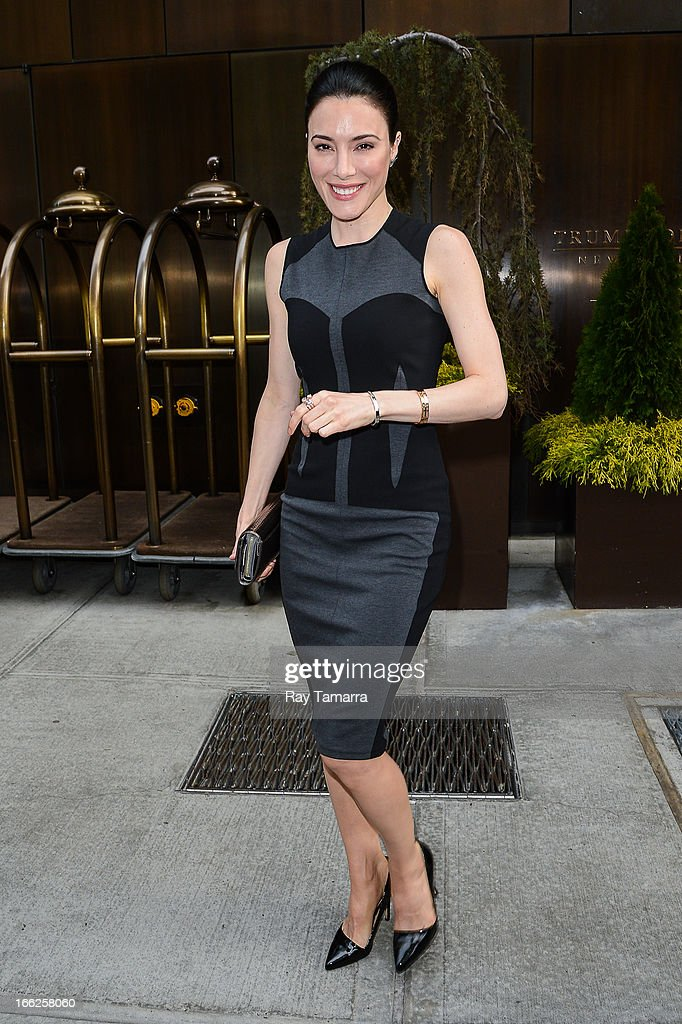 Actress Jaime Murray leaves her Soho hotel on April 10, 2013 in New York City.