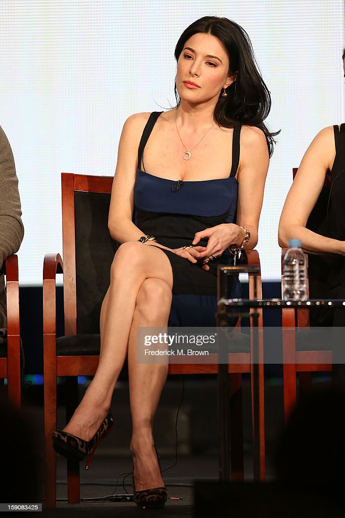 Actress Jaime Murray speaks onstage at the 'Defiance' panel discussion during the Syfy portion of the 2013 Winter TCA Tour- Day 4 at the Langham Hotel on January 7, 2013 in Pasadena, California.