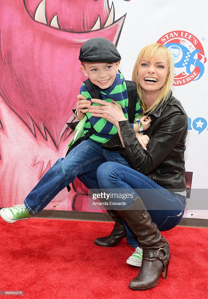 Actress Jaime Pressly (R) and her son Dezi James Calvo arrive at Stan Lee's 'Kids Universe Day' new multi-platform children's books label unveiling at Giggles 'N' Hugs on February 2, 2013 in Century City, California.