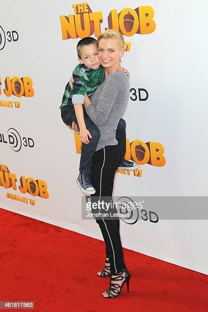 Actress Jaime Pressly and son Dezi Calvo arrive at 'The Nut Job' Los Angeles Premiere at Regal Cinemas LA Live on January 11 2014 in Los Angeles...