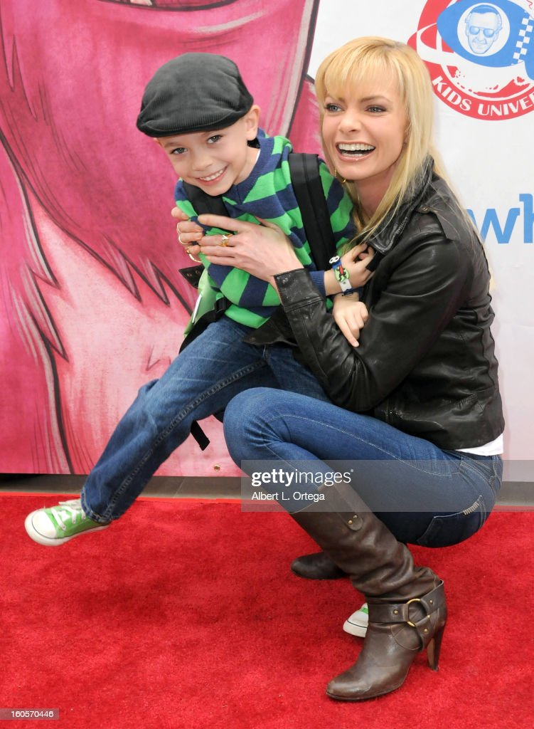 Actress Jaime Pressly and son Dezi host the Stan Lee Children Book Label 'Kids Universe Day' Unveiling held at Giggles 'N' Hugs on February 2, 2013 in Century City, California.