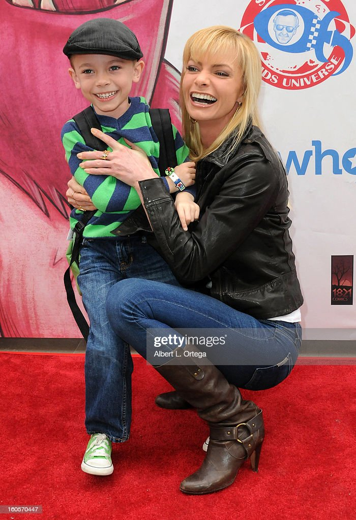 Actress <a gi-track='captionPersonalityLinkClicked' href=/galleries/search?phrase=Jaime+Pressly&family=editorial&specificpeople=211226 ng-click='$event.stopPropagation()'>Jaime Pressly</a> and son Dezi host the Stan Lee Children Book Label 'Kids Universe Day' Unveiling held at Giggles 'N' Hugs on February 2, 2013 in Century City, California.