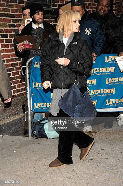 Actress Jaime Pressly arrives at a taping of the 'Late Show with David Letterman' at The Ed Sullivan Theatre on March 10 2008 in New York City