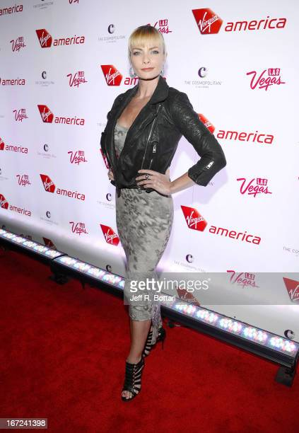Actress Jaime Pressly arrives at The Cosmopolitan of Las Vegas to celebrate the launch of Virgin America's new route from Los Angeles International...