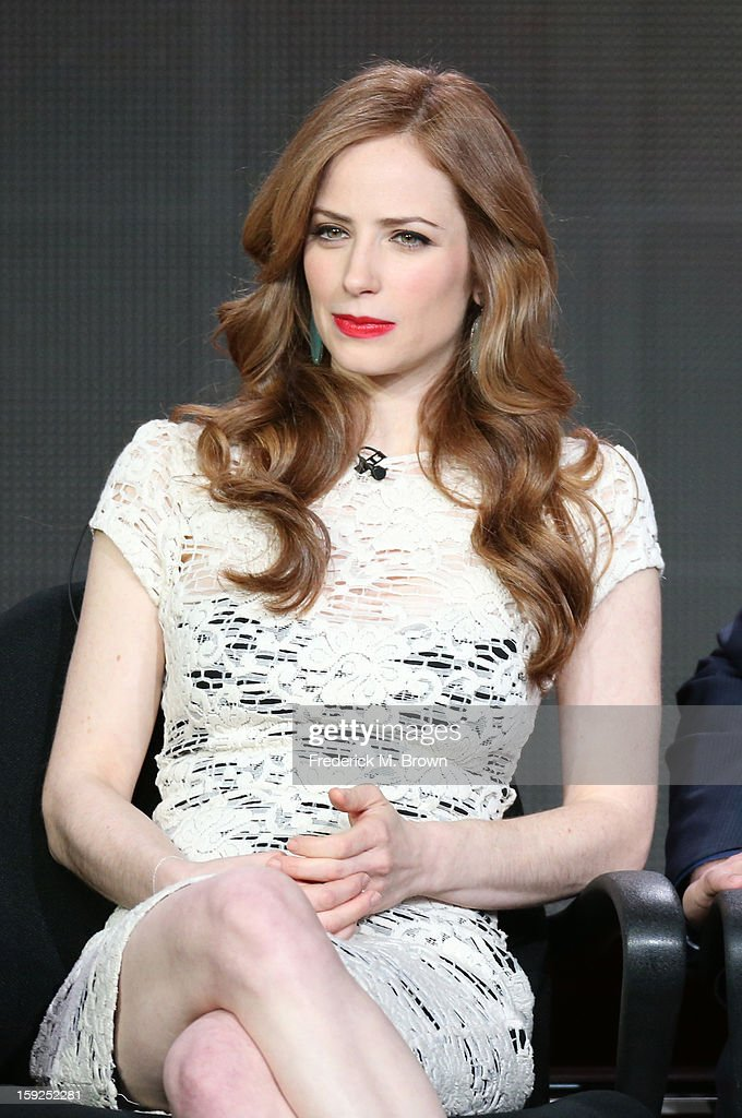 Actress Jaime Ray Newman of 'Red Widow' speaks onstage during the ABC portion of the 2013 Winter TCA Tour at Langham Hotel on January 10, 2013 in Pasadena, California.