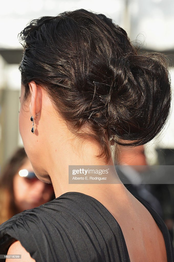 Actress Jaimie Alexander (hair detail) arrives at the 19th Annual Screen Actors Guild Awards held at The Shrine Auditorium on January 27, 2013 in Los Angeles, California.