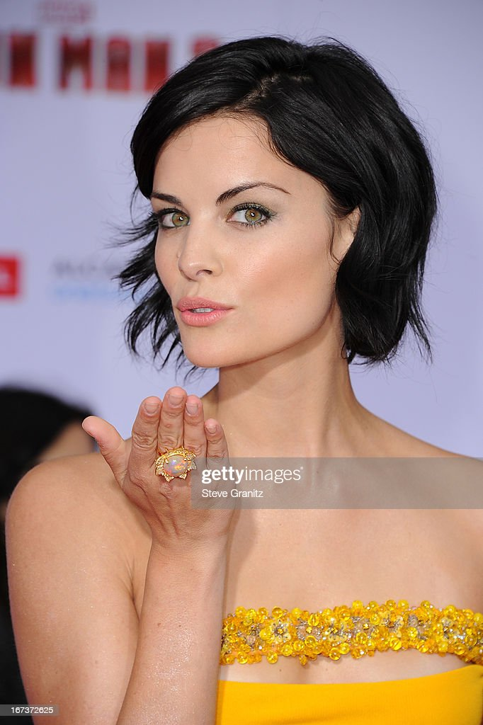 Actress Jaimie Alexander arrives at the 'Iron Man 3' Los Angeles premiere at the El Capitan Theatre on April 24, 2013 in Hollywood, California.