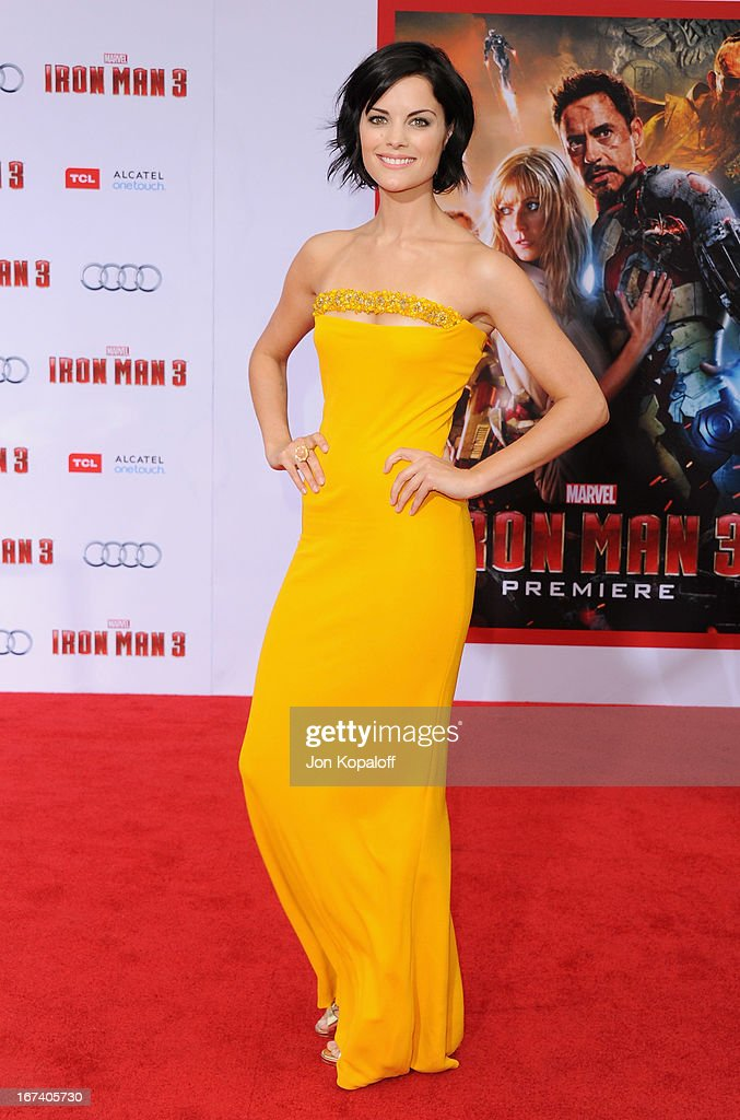Actress Jaimie Alexander arrives at the Los Angeles Premiere 'Iron Man 3' at the El Capitan Theatre on April 24, 2013 in Hollywood, California.