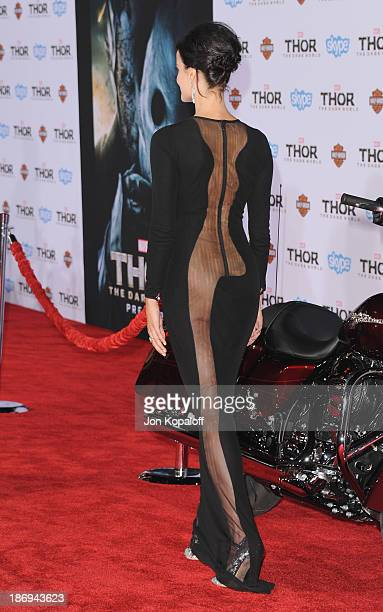 Actress Jaimie Alexander arrives at the Los Angeles Premiere 'Thor The Dark World' at the El Capitan Theatre on November 4 2013 in Hollywood...