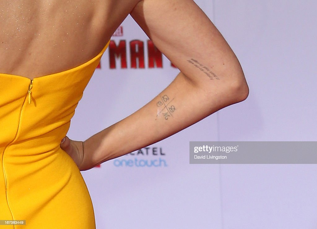 Actress Jaimie Alexander (tattoo detail) attends the premiere of Walt Disney Pictures' 'Iron Man 3' at the El Capitan Theatre on April 24, 2013 in Hollywood, California.