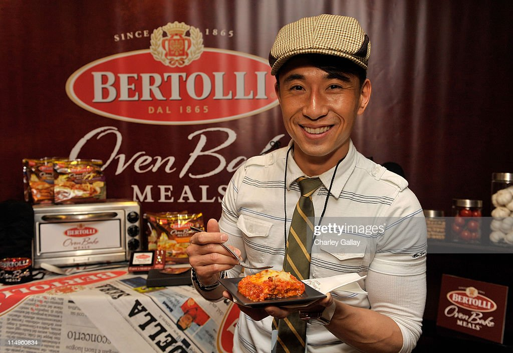 Actress James Kyson Lee attends the Bertolli Oven Bake Meals at the Access Hollywood 'Stuff You Must' Lounge produced by On 3 Productions held at...