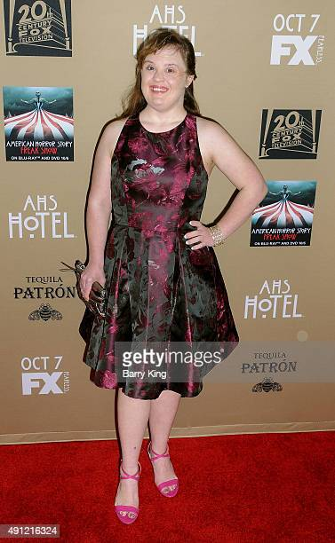 Actress Jamie Brewer arrives at the premiere screening Of FX's 'American Horror Story Hotel' at Regal Cinemas LA Live on October 3 2015 in Los...