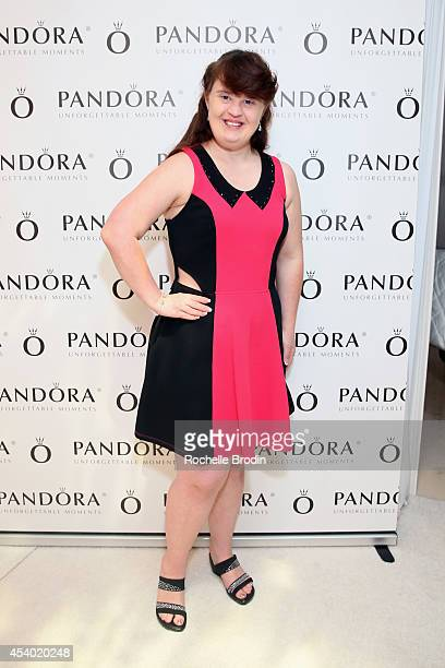 Actress Jamie Brewer attends the HBO Luxury Lounge featuring PANDORA at Four Seasons Hotel Los Angeles at Beverly Hills on August 23 2014 in Beverly...