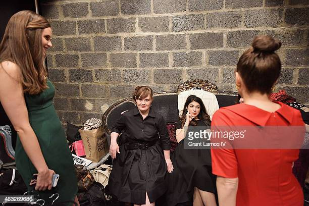 Actress Jamie Brewer center backstage at Role Models Not Runway Models show during MercedesBenz Fashion Week Fall 2015 on February 12 2015 in New...