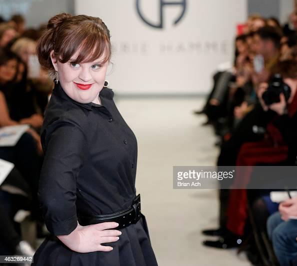 Actress Jamie Brewer walks the runway during the Role Models Not Runway Models Carrie Hammer Runway MercedesBenz Fashion Week Fall 2015 at Lightbox...