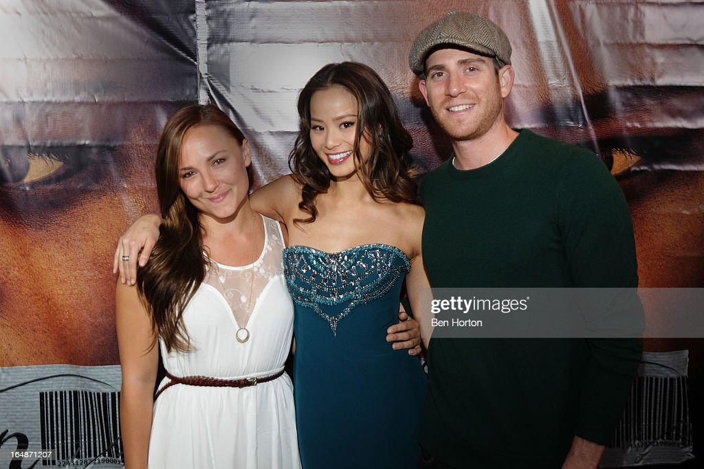 Actress <a gi-track='captionPersonalityLinkClicked' href=/galleries/search?phrase=Jamie+Chung&family=editorial&specificpeople=4145549 ng-click='$event.stopPropagation()'>Jamie Chung</a> (C), actor <a gi-track='captionPersonalityLinkClicked' href=/galleries/search?phrase=Bryan+Greenberg&family=editorial&specificpeople=2135761 ng-click='$event.stopPropagation()'>Bryan Greenberg</a> (R) and guest attend the premiere of 'Eden' at Laemmle Music Hall on March 28, 2013 in Beverly Hills, California.