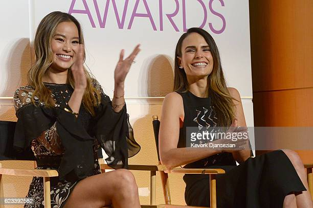 Actress Jamie Chung applauds as actress Jordana Brewster is nominated for Favorite Actress in a New TV Series during the People's Choice Awards...