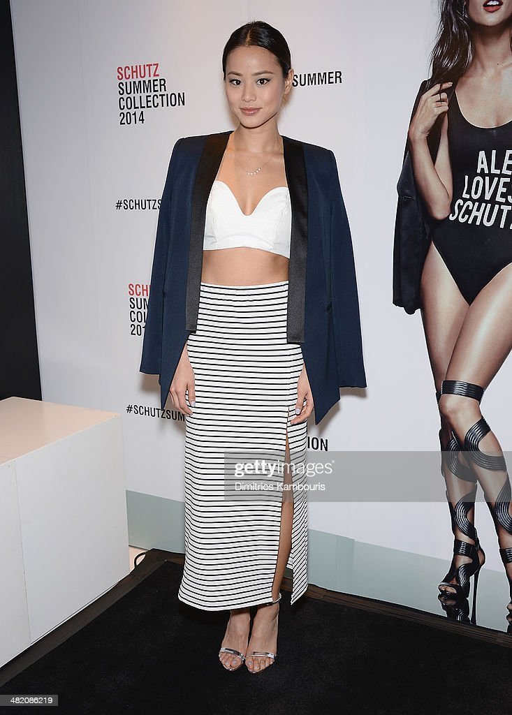 Actress <a gi-track='captionPersonalityLinkClicked' href=/galleries/search?phrase=Jamie+Chung&family=editorial&specificpeople=4145549 ng-click='$event.stopPropagation()'>Jamie Chung</a> attends the Schutz Summer 2014 Collection Launch at Schutz on April 2, 2014 in New York City.