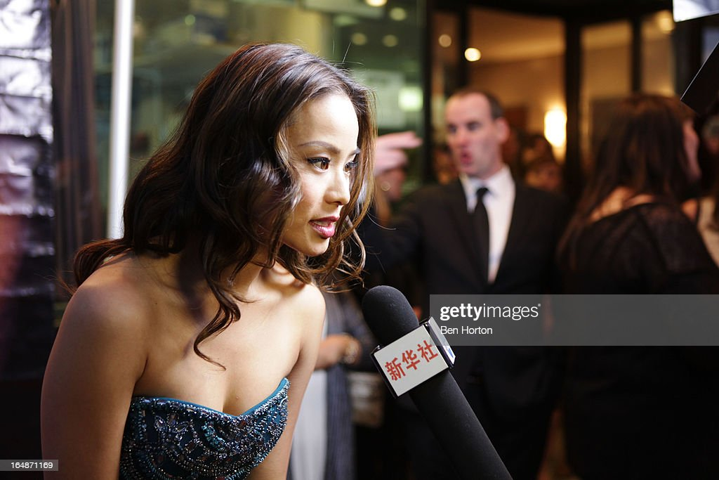 Actress Jamie Chung gives an interview at the premiere of 'Eden' at Laemmle Music Hall on March 28, 2013 in Beverly Hills, California.