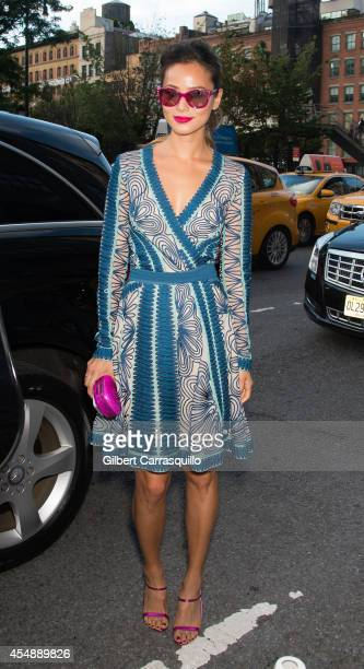Actress Jamie Chung is seen at Diane Von Furstenberg fashion show during MercedesBenz Fashion Week Spring 2015 at Spring Studios on September 7 2014...