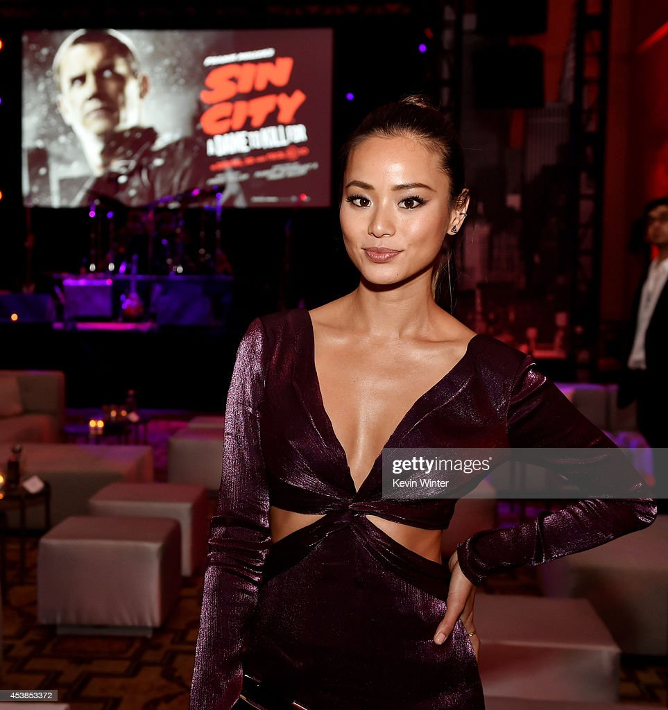 Actress <a gi-track='captionPersonalityLinkClicked' href=/galleries/search?phrase=Jamie+Chung&family=editorial&specificpeople=4145549 ng-click='$event.stopPropagation()'>Jamie Chung</a> poses at the after party for the premiere of Dimension Films' 'Sin City: A Dame To Kill For' at the Roosevelt Hotel on August 19, 2014 in Los Angeles, California.