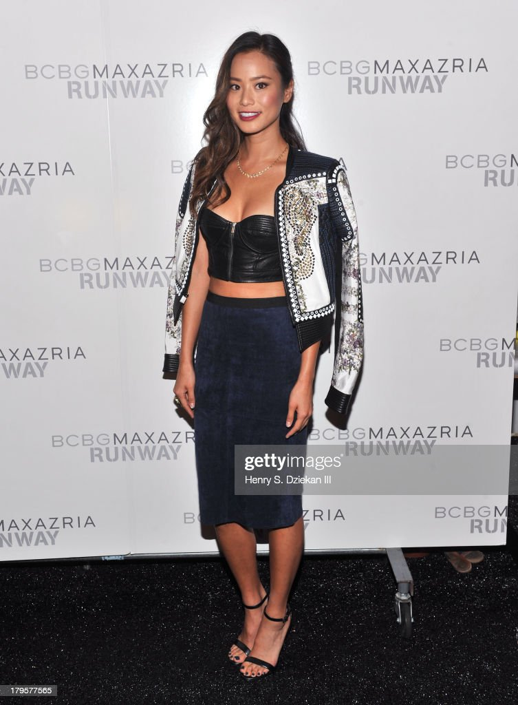 Actress Jamie Chung poses backstage at the BCBGMAXAZRIA show during Spring 2014 Mercedes-Benz Fashion Week at The Theatre at Lincoln Center on September 5, 2013 in New York City.