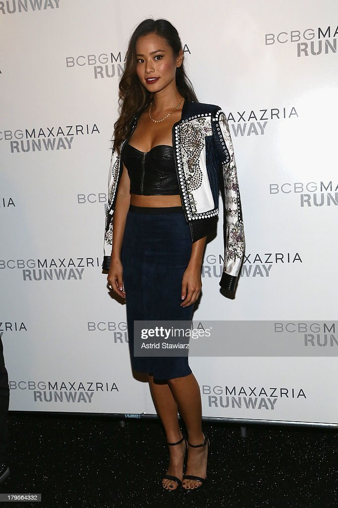 Actress <a gi-track='captionPersonalityLinkClicked' href=/galleries/search?phrase=Jamie+Chung&family=editorial&specificpeople=4145549 ng-click='$event.stopPropagation()'>Jamie Chung</a> poses backstage at the BCBGMAXAZRIA Spring 2014 fashion show during Mercedes-Benz Fashion Week at The Theatre at Lincoln Center on September 5, 2013 in New York City.