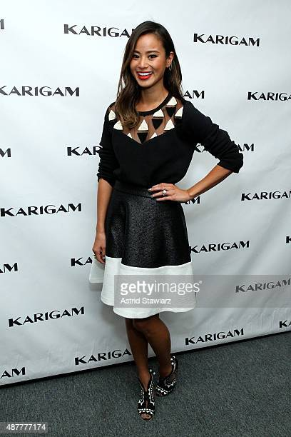 Actress Jamie Chung poses backstage at the Karigam fashion show during Spring 2016 New York Fashion Week The Shows at The Gallery Skylight at...