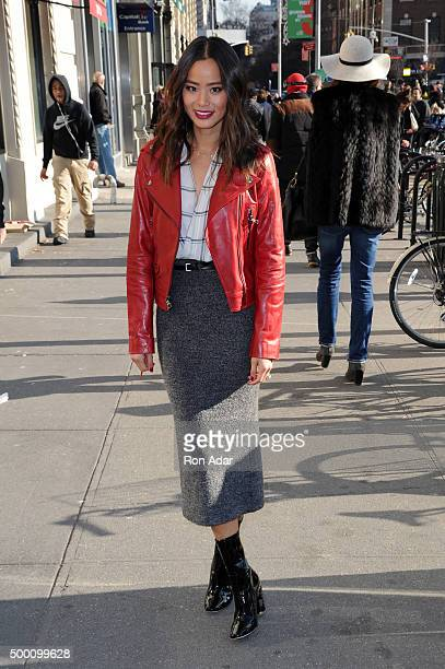 Actress Jamie Chung stopped by the Barclaycard Gift Grab at Union Square on December 5 2015 in New York City