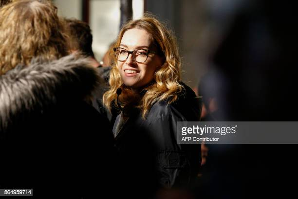 US actress Jamie Clayton is pictured on the set of Netflix TV scifi series 'Sense8' in the Montmartre area of Paris on october 21 2017 / AFP PHOTO /...