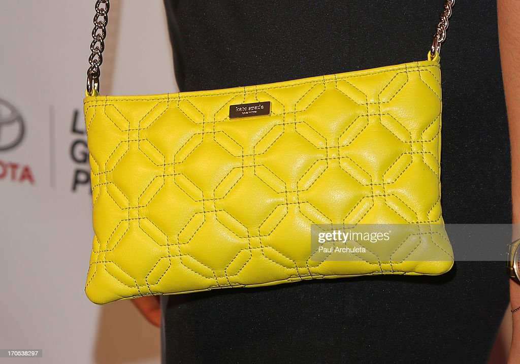 Actress Jamie Grey Hyder (handbag detail) attends the West Coast Liberty Awards celebrating Lambda Legal's 40th anniversary at The London Hotel on June 13, 2013 in West Hollywood, California.