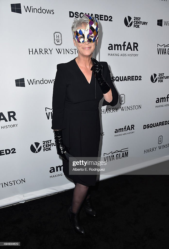 Actress Jamie Lee Curits attends amfAR's Inspiration Gala Los Angeles at Milk Studios on October 29, 2015 in Hollywood, California.